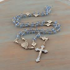 catholic rosary blue crystal blue