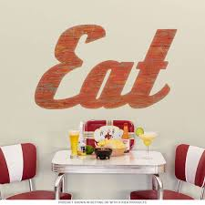 Eat Word Wall Decal Wood Look At Retro Planet