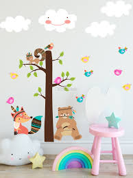Kids Cute Fox And Bear And Cartoon Tree With Little Birds Wall Decal Sticker Wall Decals Wallmur