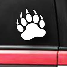 Amazon Com Spdecals Grizzly Bear Paw Print Car Window Vinyl Decal Sticker White 6 Automotive