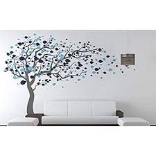 Pop Decors Grey Blue Tree Blowing Right To The Wind Beautiful Wall Stickers For Kids Rooms Walmart Com Walmart Com