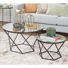 glass round 2 piece modern coffee table