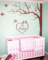 Large Tree Wall Decal Custom Baby Name Corner Wall Art Decal With Birds Kw006 Ebay