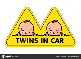 Twins In Car Sticker Fases Of Baby Boys And Logo Stock Vector C Passengerz 234653630