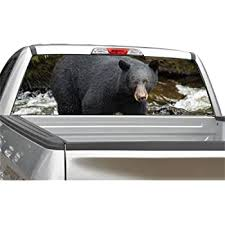 Amazon Com Black Bear Hunting Rear Window Graphic Decal Sticker For Truck Suv 4 Sizes 20 X 66 Automotive