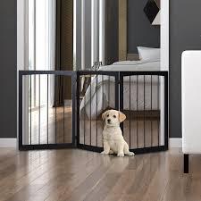 Folding Pet Gate Dog Fence Child Safety Indoor Durable Free Standing Pine Wood Ebay