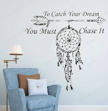 To Catch Your Dream Quote Vinyl Wall Sticker Amulets Feather Arrow Wall Decal You Must Chase It Wall Decor For Home Hj531 Wall Stickers Aliexpress