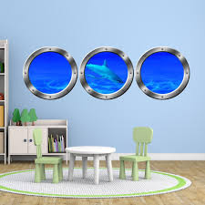 Vwaq Submarine Porthole Windows Shark Ocean Floor Underwater Scene Wal