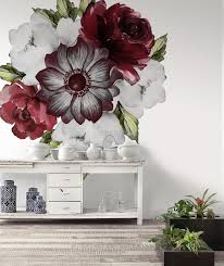 Watercolor Red Rose And Anemone Floral Bouqets Wall Decal Sticker Wall Decals Wallmur