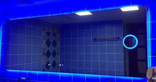 blue light bathroom light mirror with