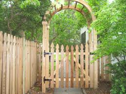 Open Picket Wood Fence With French Gothic Board Tops And An Arbor To Make A Grand Entryway Bergenfence Number1ce Garden Gate Design Gate Design Garden Gates