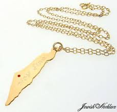 gold israel map necklace personalized