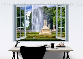 Royal Garden Window View Wallpaper Peel And Stick Etsy View Wallpaper Window View Removable Wall Murals