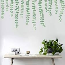 Amazon Com Pearls Vine Wall Decals Hanging Branch Wall Stickers Watercolor Green Strings Home Decor For Kitchen Living Room Arts Crafts Sewing
