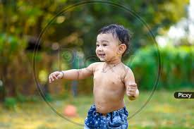 image of indian cute baby boy playing