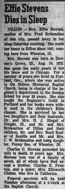 Obituary for Effie Stevens - Newspapers.com
