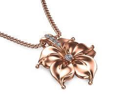 14k rose gold diamond pendant designer