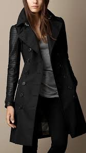 trench coat with leather sleeves