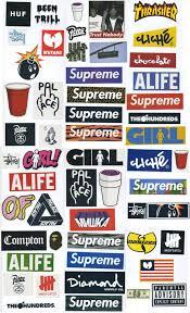 Supreme Sticker Pack 54 Stickers Free Shipping Worldwide Skateboard Vinyl Decal Stickers Supreme Sticker Packs