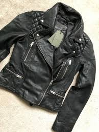 allsaints leather jacket black women