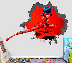 Miraculous Tales Of Ladybug Wall Decal 3d Sticker Vinyl Smashed Decor Mural Ls69