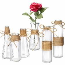 habbi glass vases set of 6 clear glass