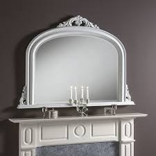 white overmantle arched top mirror
