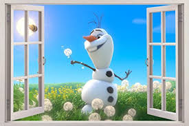 Wall Stickers Murals Olaf In The Sun Disney Frozen 3d Window View Decal Wall Sticker Decor Art Mural Giant C067 Wall Stickers Murals Wall Stickers Murals