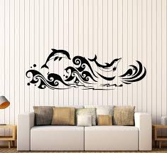 Vinyl Wall Decal Dolphins Sea Waves Marine Style For Bathroom Stickers Wallstickers4you