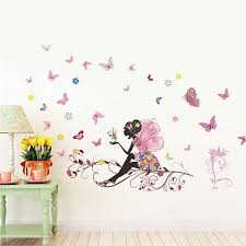 High Quality New Butterfly Flower Fairy Stickers Bedroom Living Room Walls Read More At The Childrens Room Wall Art Wall Stickers Bedroom Floral Wall Decals
