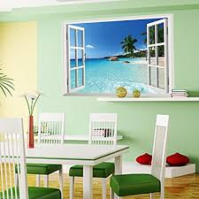Amaonm New Design Removable Huge Large 3d Beach Sea Window View Art Decor Wallpaper Mural Wall Decals Sticker For Home Wall Art Decor Kids Bedroom Living Room Decorations Baby B0151rg528