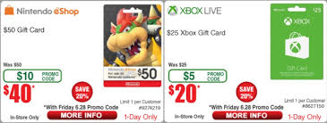 gift card for 20 50 nintendo e