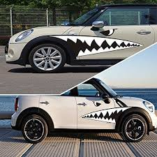 Fochutech 2pcs Creative Auto Decor Shark Mouth Tooth Car Sticker Adhes