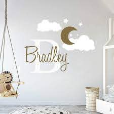 Amazon Com Custom Name Initial Moon Clouds Stars Baby Boy Nursery Wall Decal For Baby Room Decorations Mural Wall Decal Sticker For Home Children S Bedroom Mm109 Wide 22 X