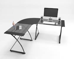 glass l shape computer desk