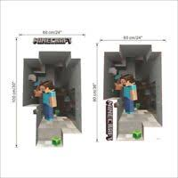 Minecraft Wall Stickers Poster 3d Popular Game Kids Rooms Decoration Diy Mural Ebay