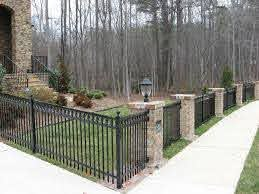 Don T Love This But Like The Concept Of Metal With Stone Columns Stone Columns Aluminum Pool Fence Aluminum Fencing