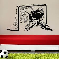 Vinyl Wall Decal Sticker Bedroom Kids Hockey Player Goalkeeper Puck Boys Wall Stickers Home Decor Size 56x90cm Stickers Home Decor Wall Stickers Home Decorhome Decor Aliexpress