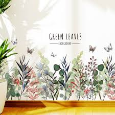 Green Leaves With Florals Wall Decals Romantic Flowers Plants Living Room Stickers Quotes Home Decor Art Removable Nature Girls Room Thefuns On Artfire