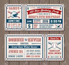 Ilustraciones Vectoriales Para Billetes De Invitacion Para Beisbol