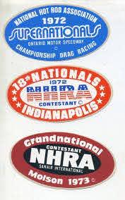 Lot Of 3 Vtg Nhra Drag Racing Sticker Decal 70 S Hot Rod Nationals Championship