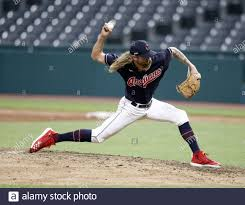 Cleveland, United States. 20th July, 2020. Cleveland Indians Adam Cimber  (90) pitches during the seventh inning of an exhibition game against the  Pittsburgh Pirates at Progressive Field in Cleveland, Ohio on Monday,