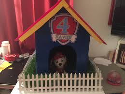 Cardboard Box Turned Into A Paw Patrol Doghouse Fence And Grass From Michaels Will Use Paw Patrol Party Paw Patrol Party Decorations House Party Decorations