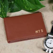 tan leather business card holder wallet
