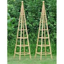 set of 2 wooden garden obelisk 1 9m