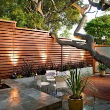 11 Modern Backyard With A Horizontal Wood Fence And Concrete Planters Along It Digsdigs Modern Backyard Backyard Fences Backyard