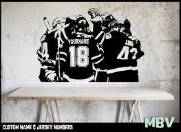 Hockey Wall Decal Custom Name And Jersey Numbers Hockey Etsy