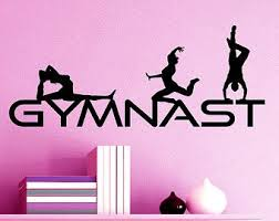 Gymnast Wall Decal Vinyl Sticker Home Decor Gymnastic Kwds Leotard Grips Girls Bedroom Ring Silhouette Gymnast Wall Decal Gymnastics Wall Art Girls Room Decor