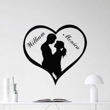 Custom Names Love Heart Wall Decal Removable Loving Personalized Vinyl Sticker Mural Couples Love Wallpaper Home Decor Ay554 Wall Stickers Aliexpress