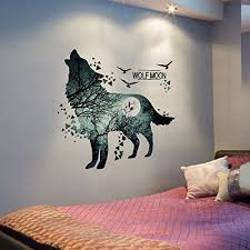 Yiuhart Wolf Moon Wall Stickers Diy Animal Wall Decal For Kids Rooms Living Room Bedroom Bathroom Home Decor Baby B0751h6j9n